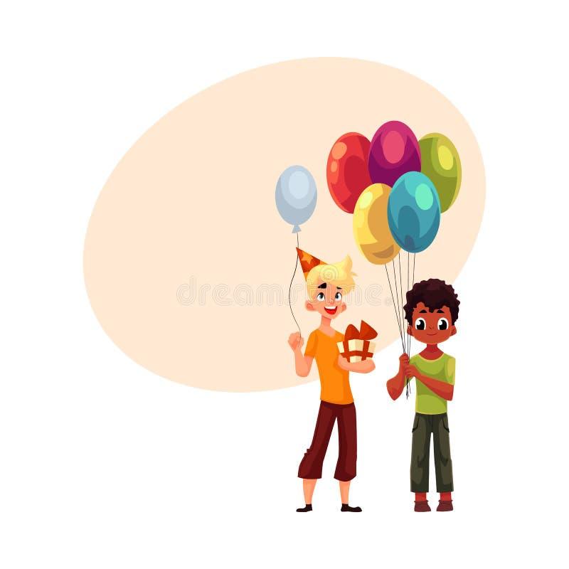 Petit garçon noir avec des ballons, adolescent caucasien tenant le cadeau d'anniversaire illustration libre de droits