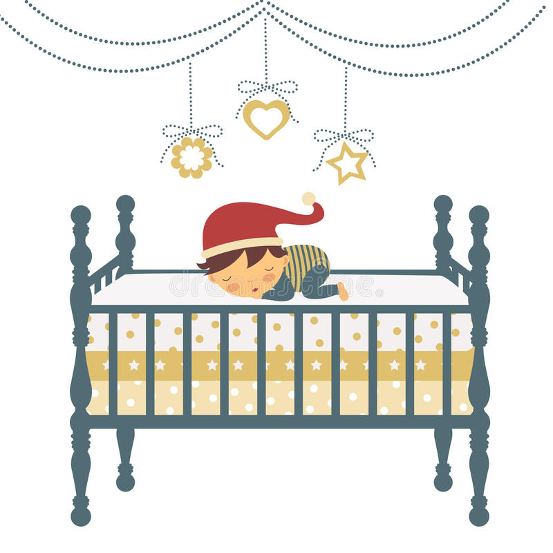 Petit garçon nouveau-né dans le sommeil de chapeau du `s de Santa illustration de vecteur