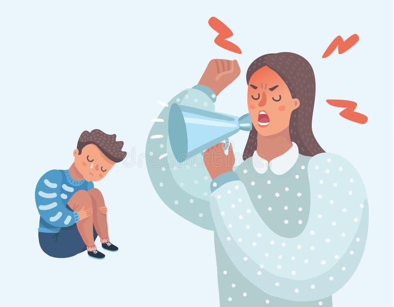 Petit garçon pleurant triste de maman fâchée illustration de vecteur