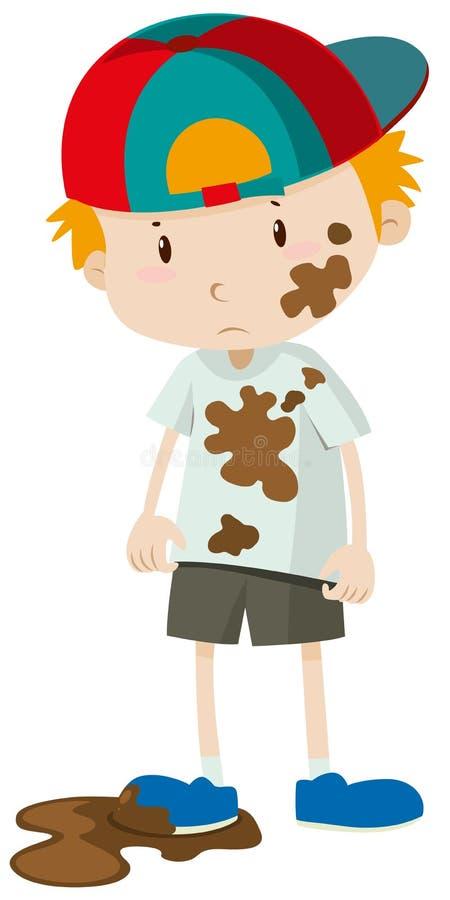 Petit garçon portant les vêtements sales illustration stock