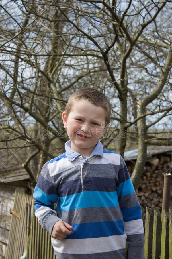 Petit garçon près de la barrière dans le village images libres de droits
