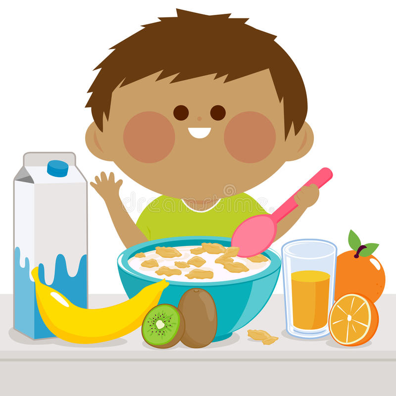 Petit garçon prenant le petit déjeuner illustration de vecteur