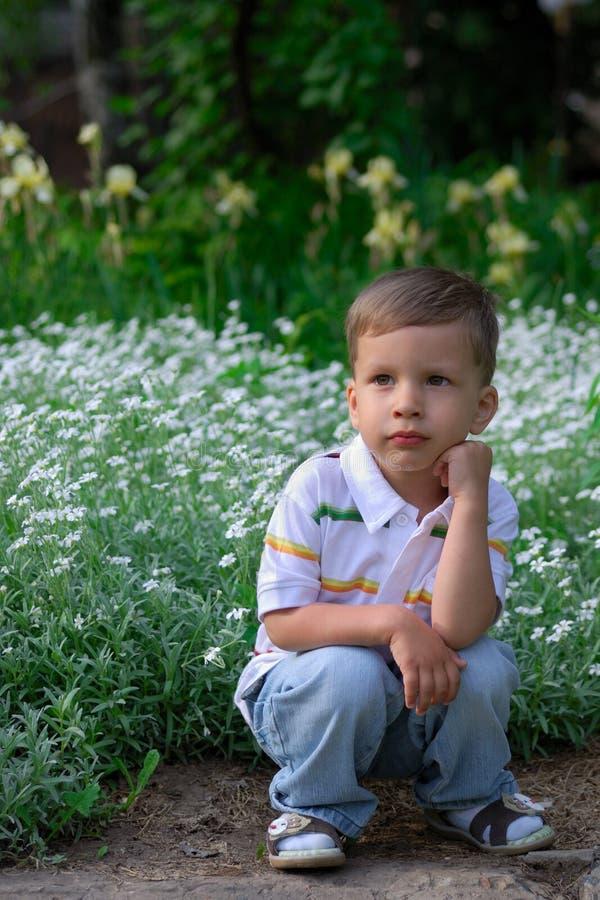 Petit garçon rêvassant en stationnement images libres de droits