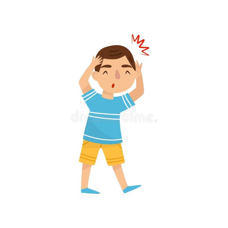 Petit garçon souffrant du mal de tête Enfant avec douleur dans la tête Symptôme de la maladie Gosse malade Illustration plate de  illustration stock