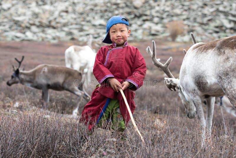 Petit garçon tsaatan posant avec son renne du ` s de famille image stock