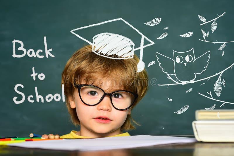 Petit gar?on pr?scolaire mignon d'enfant dans une salle de classe Fond de tableau noir Jour de professeurs Enfants d'?cole primai images libres de droits