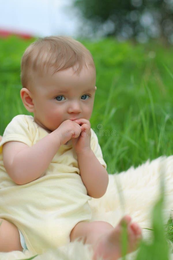Petit gosse dans l'herbe image stock