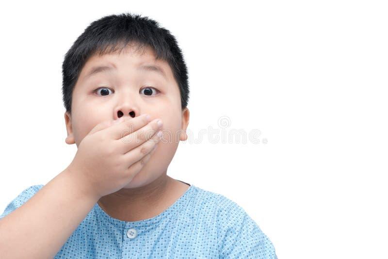 Petit gros enfant étonné de garçon d'isolement sur le fond blanc images stock