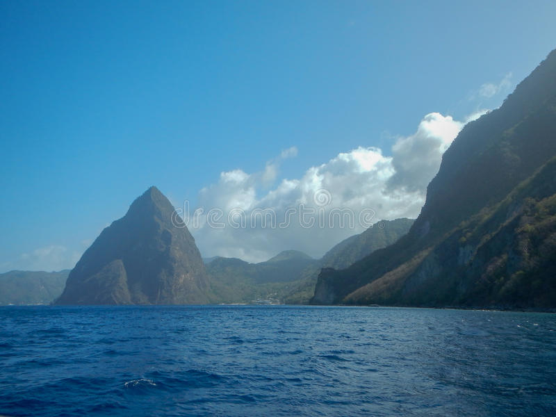 Petit and Gros Pitons and Sea in St. Lucia royalty free stock images