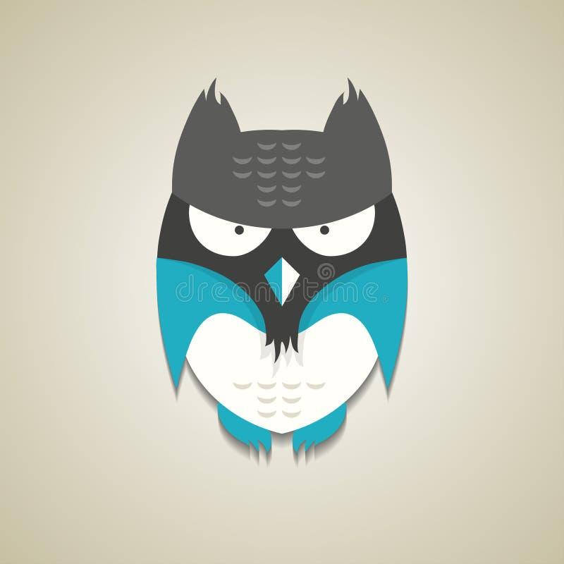 Petit hibou bleu et gris mignon de bande dessinée illustration de vecteur