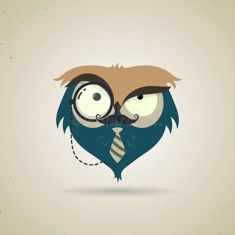 Petit hibou bleu et gris mignon de hippie de bande dessinée illustration libre de droits