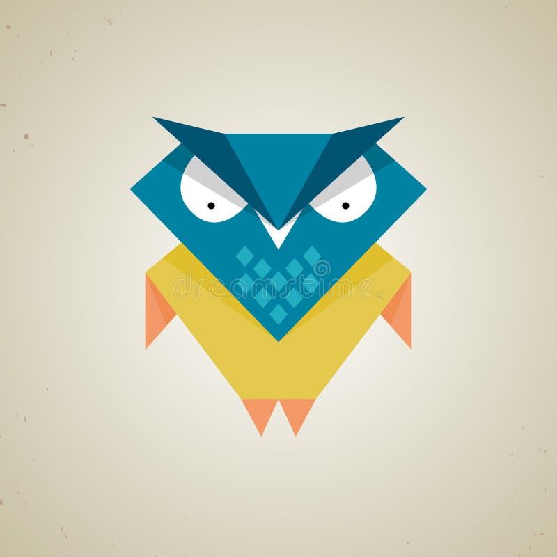 Petit hibou bleu et jaune mignon de bande dessinée illustration stock