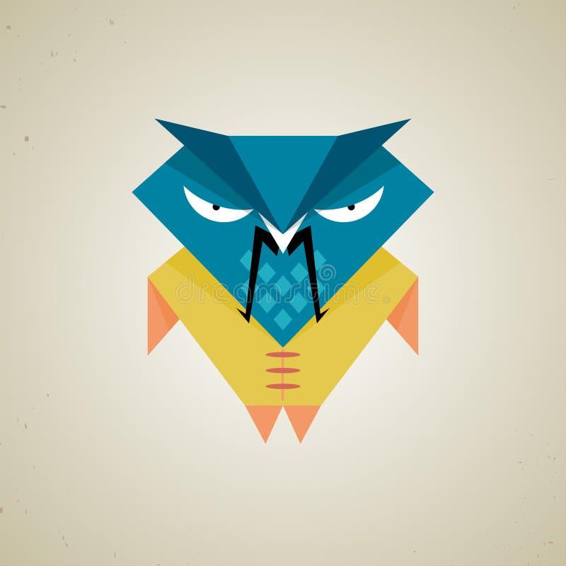 Petit hibou bleu et jaune mignon de samouraïs de bande dessinée illustration de vecteur