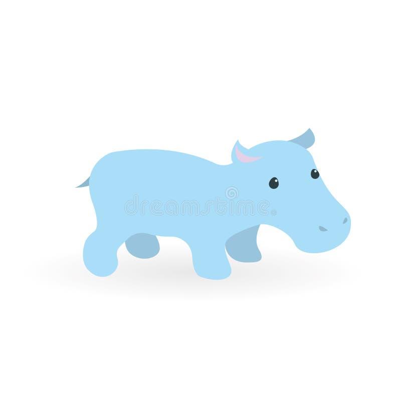 Petit hippopotame bleu Caractère mignon dans un visage simple Vecteur, esp10 illustration de vecteur
