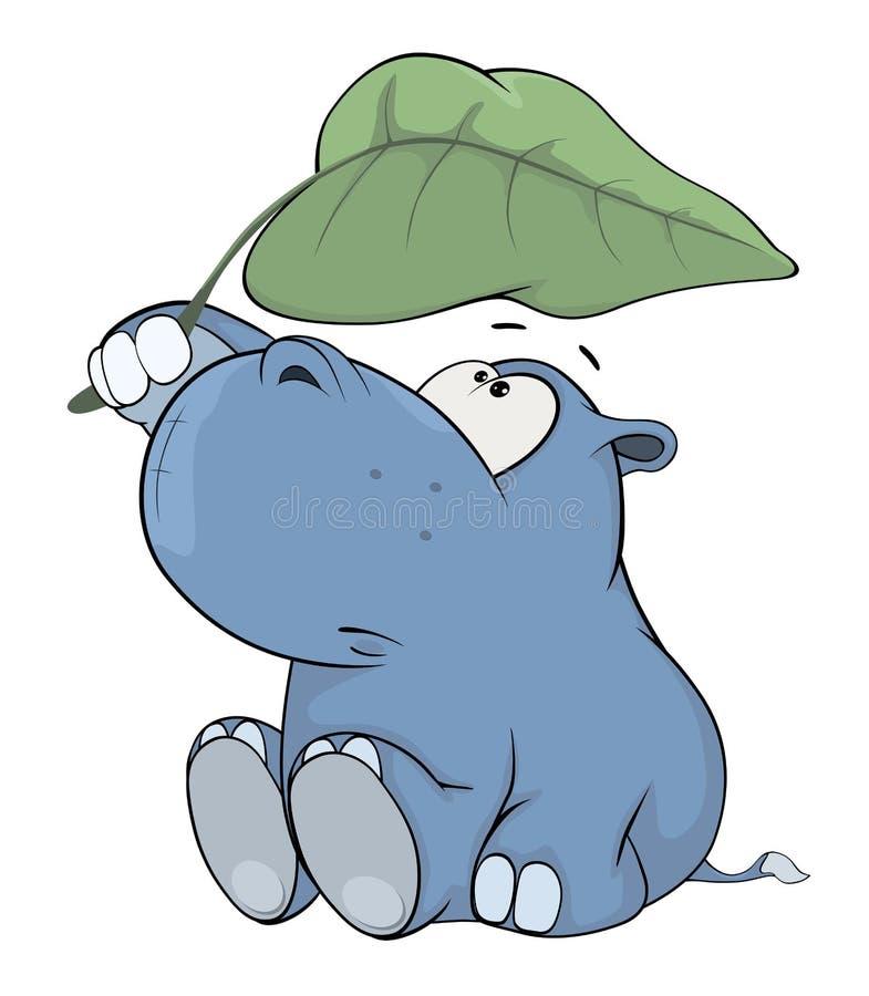 Petit hippopotame cartoon illustration de vecteur