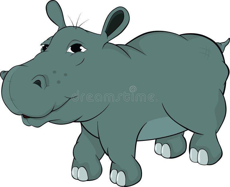 Petit hippopotamus. Dessin animé illustration libre de droits