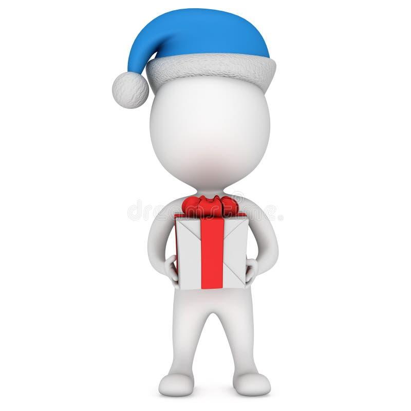 Petit homme blanc en support de chapeau du père noël avec le cadeau illustration stock