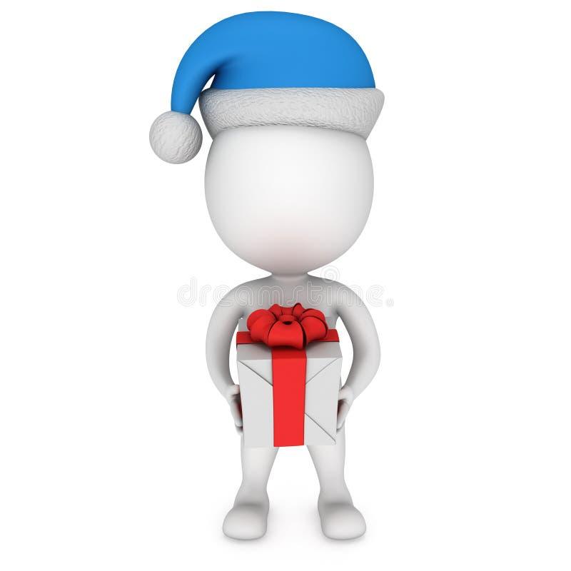 Petit homme blanc en support de chapeau du père noël avec le cadeau illustration de vecteur