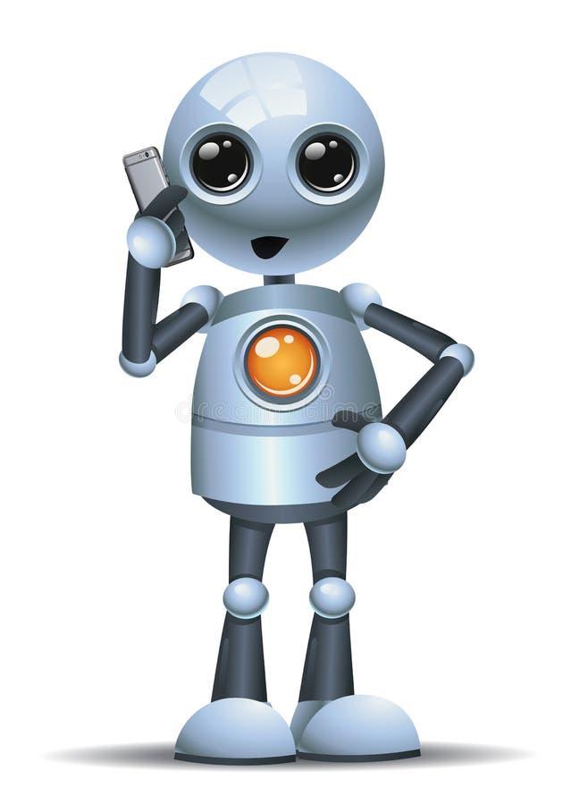 petit homme d'affaires de robot parlant au téléphone illustration de vecteur