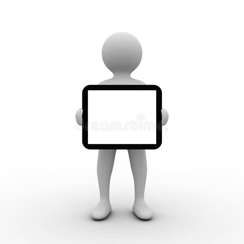 petit homme 3D avec la tablette illustration de vecteur