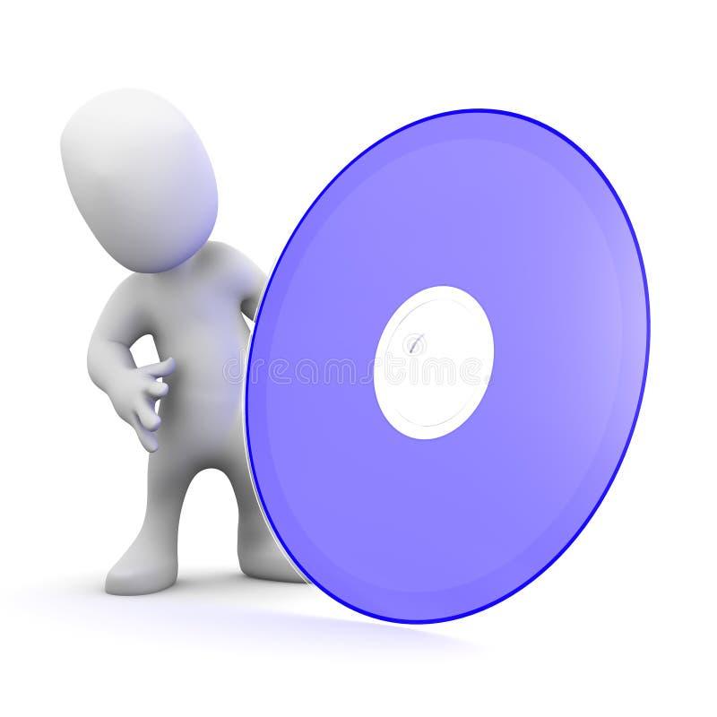 Download Petit homme 3d avec un DVD illustration stock. Illustration du humain - 45371406