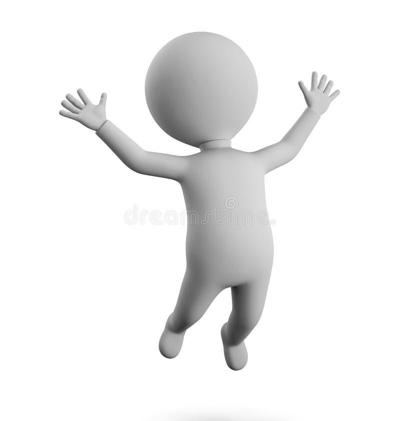 petit homme 3D - heureux illustration libre de droits