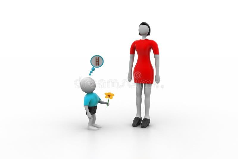Petit homme 3d proposant la femme plus grande illustration libre de droits