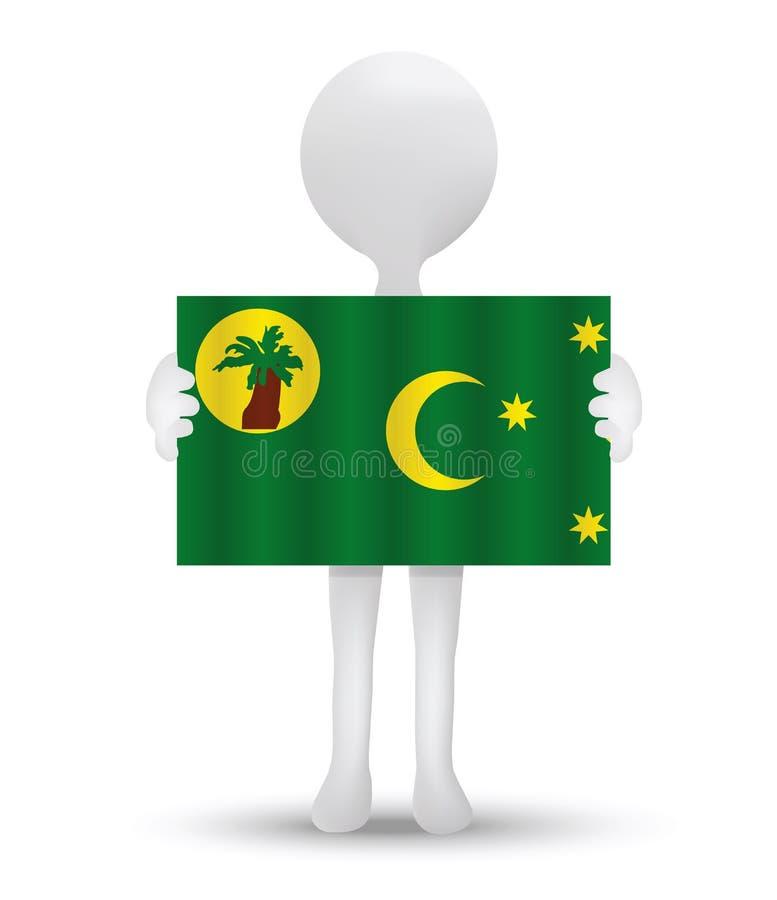 petit homme 3d tenant un drapeau du territoire des îles de Cocos (Keeling) illustration de vecteur