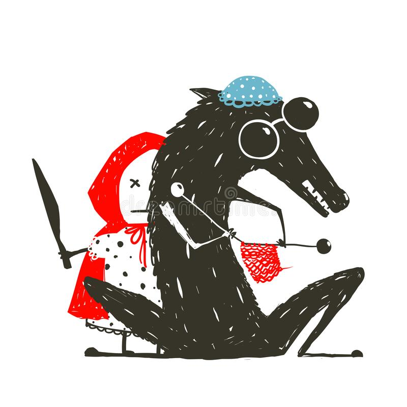 Petit Hood Kill Knitting Wolf de monte rouge fâché illustration stock