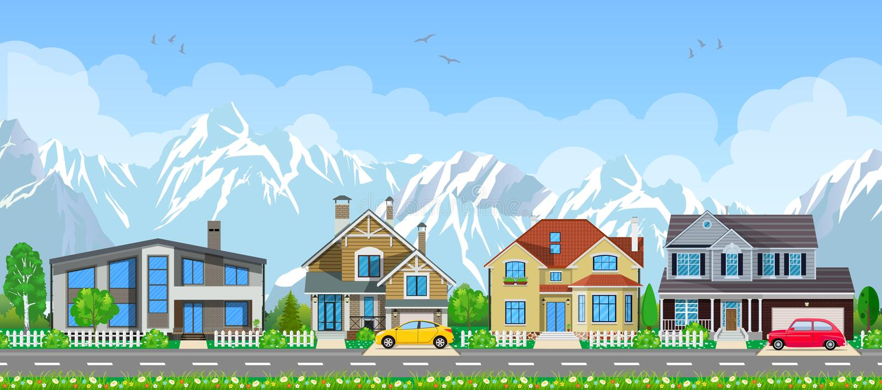 Petit horizontal de village illustration libre de droits
