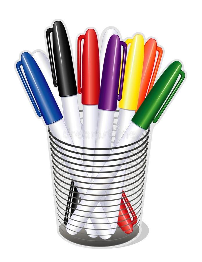 Petit-inclinez les crayons lecteurs de repère dans une cuvette (JPG+EPS)
