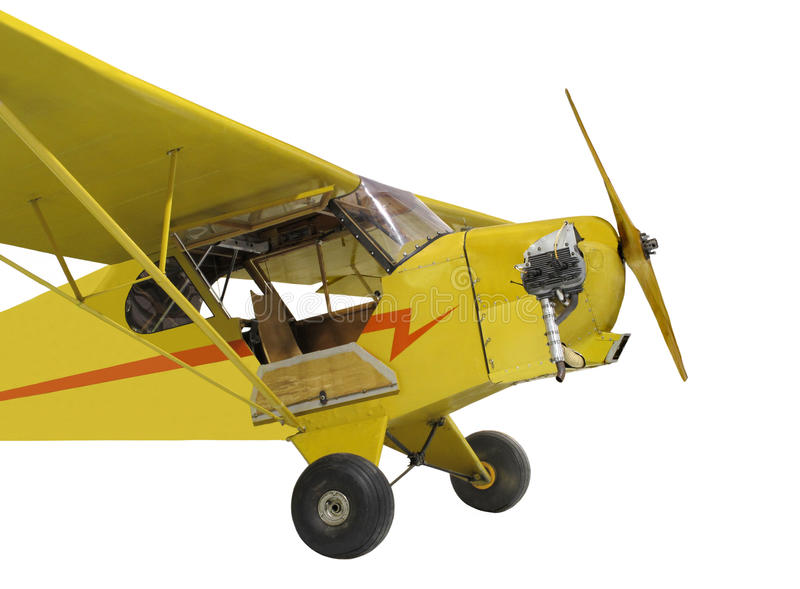Petit isolat d'avion de jaune d'engine simple de cru images stock