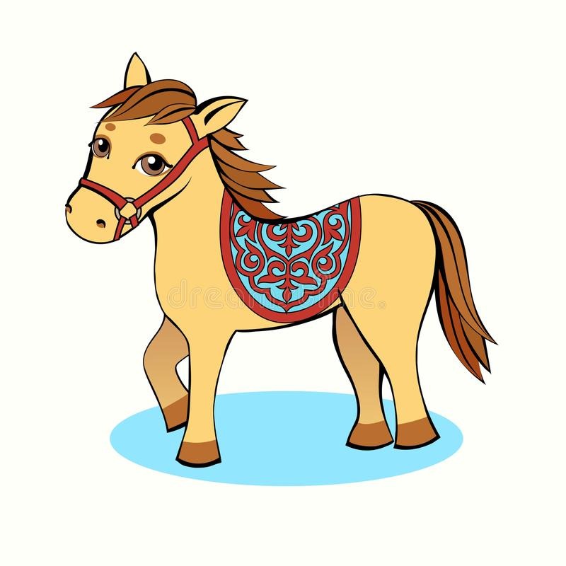 Petit jaune de bande dessinée de cheval sur un fond clair illustration libre de droits