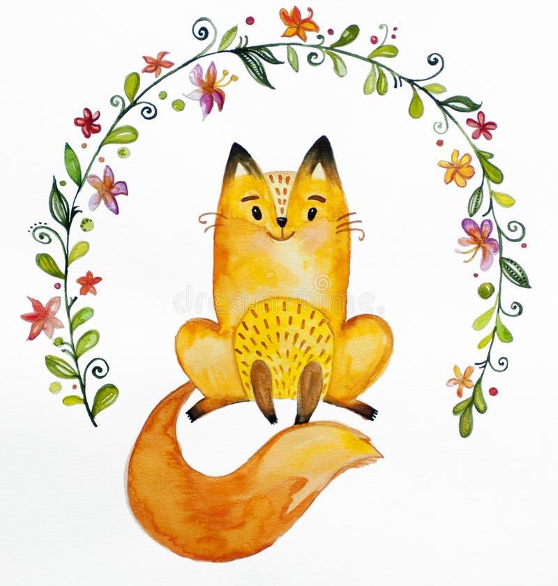 Petit joli renard orange d'aquarelle illustration libre de droits