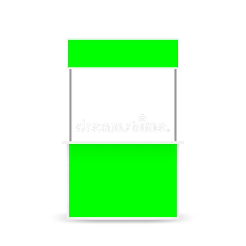 Petit kiosque et affichage d'écran supérieur de vert de bannière, kiosque de blanc de calibre de l'écran courant de vert de c illustration stock