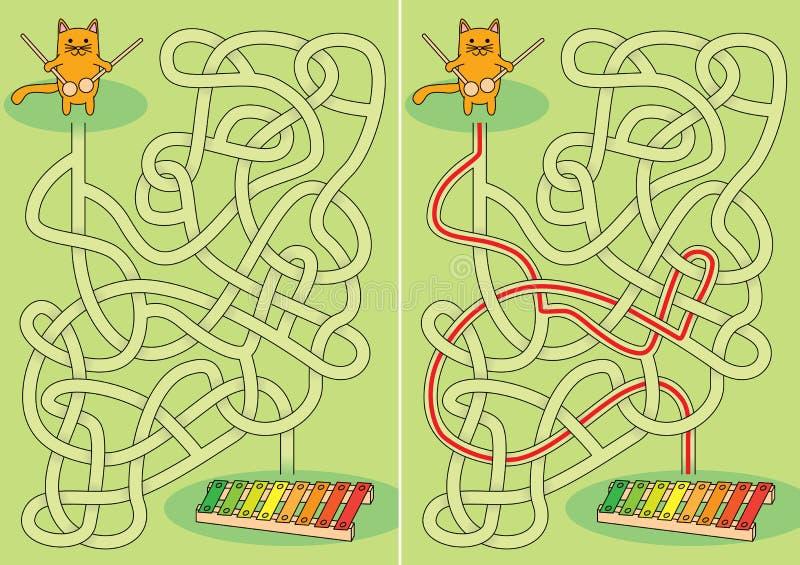 Petit labyrinthe de chat illustration libre de droits