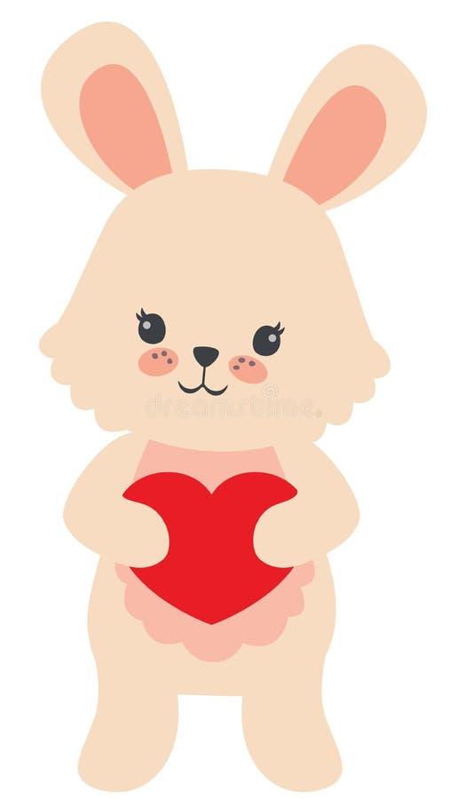 Petit lapin beige mignon jugeant l'illustration plate de vecteur de coeur de valentines de carte rouge de jour d'isolement sur le illustration de vecteur