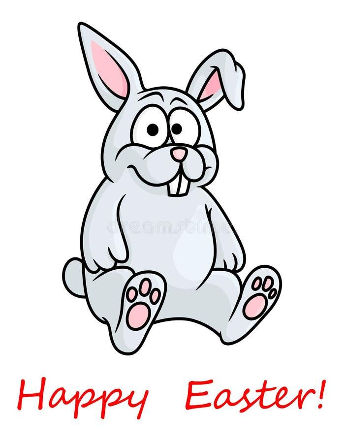 Petit lapin de Pâques heureux gris mignon illustration libre de droits