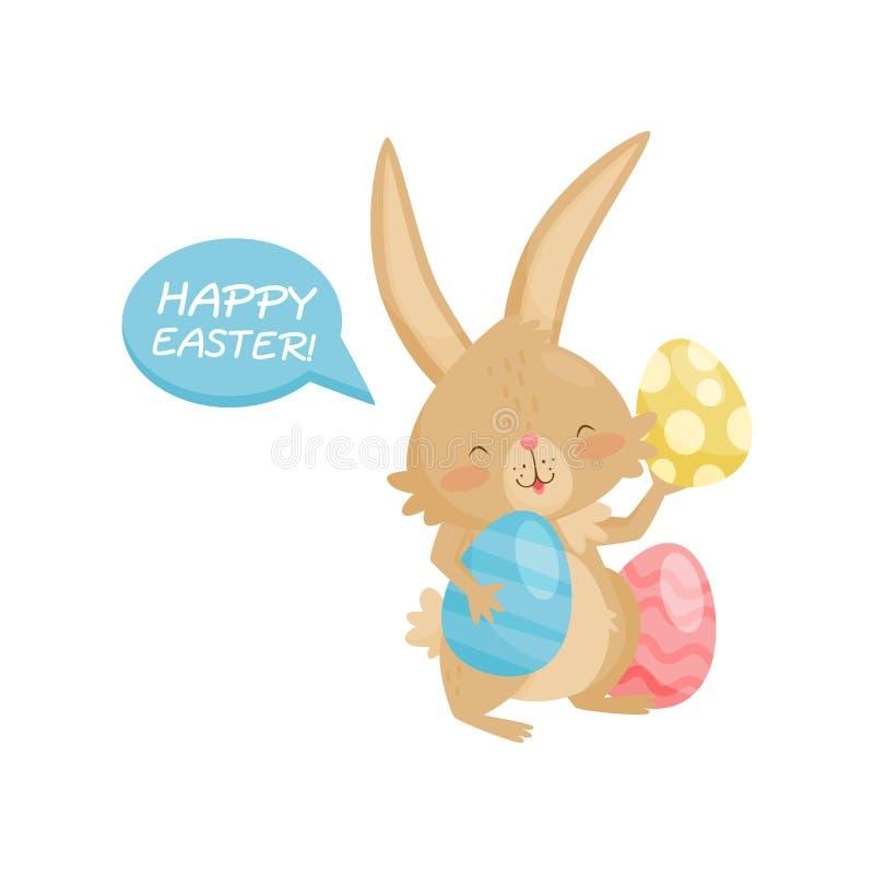 Petit lapin drôle avec des oeufs de pâques Lapin brun mignon avec de longues oreilles et queue courte Vacances heureuses Icône pl illustration stock