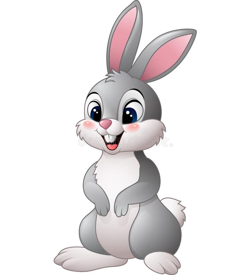 Petit lapin mignon sur le fond blanc illustration de vecteur