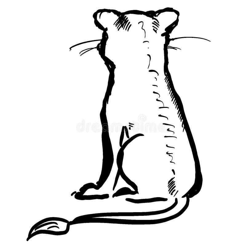 Petit lion se reposant mignon Découpe animale de noir de silhouette Beau personnage de dessin animé de lion illustration de vecteur