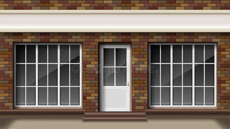 Petit magasin 3d de brique ou façade avant de boutique Boutique vide extérieure de boutique avec la grande fenêtre Maquette vide  illustration stock