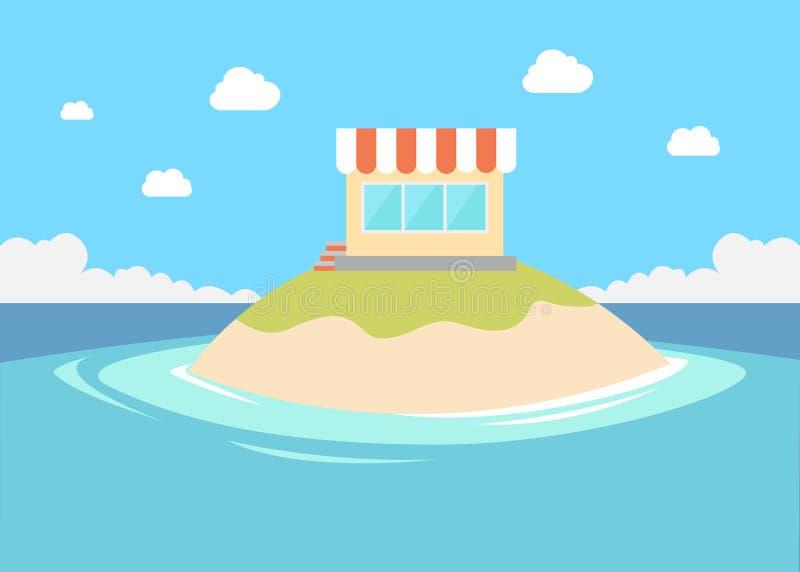 Petit magasin privé en petite île illustration de vecteur