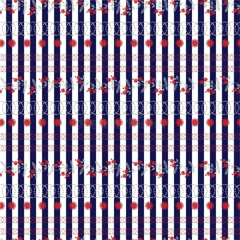 Petit ornement floral de vecteur de broderie de liberté sur les rayures blanches de bleu marine Humeur sans couture de point de m illustration libre de droits