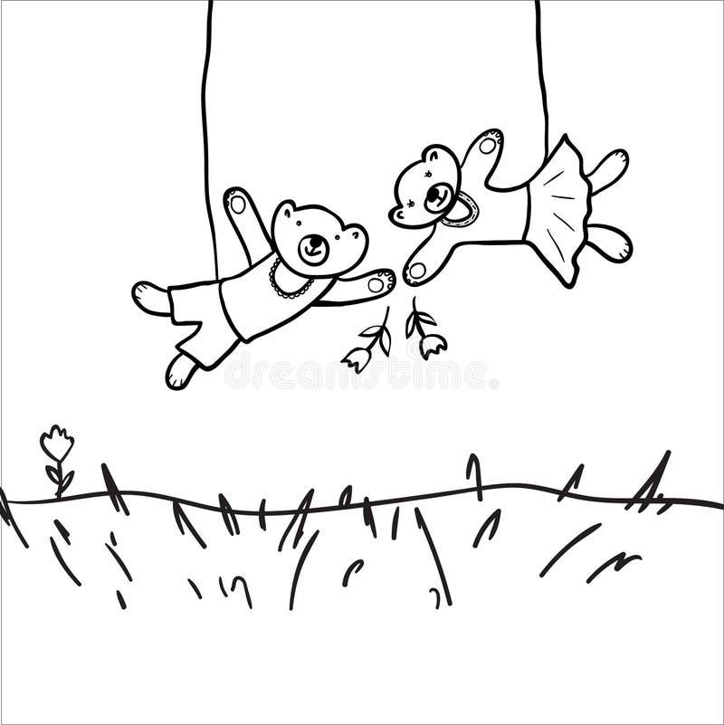 Petit ours drôle jouant l'oscillation avec son ami Personnages de dessin anim? Illustration tir?e par la main illustration stock