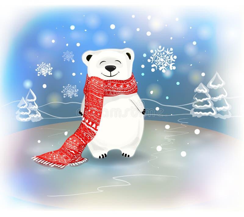 Petit ours polaire mignon de bébé avec des flocons de neige Noël et écharpe conceptred Nouveau an et illustration libre de droits