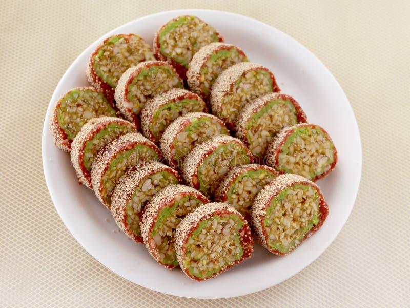 Petit pain-Anjeer de pistache de figue un plat doux photographie stock
