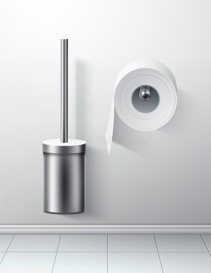 Petit pain argenté de papier hygiénique de brosse de toilette du vecteur 3d illustration stock