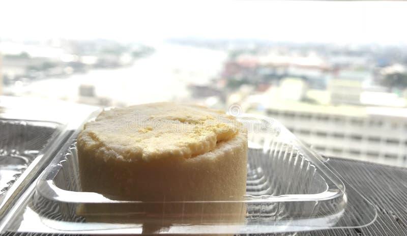 petit pain crème de confiture dans le conditionnement en plastique, vue de rivière de chaopraya images stock