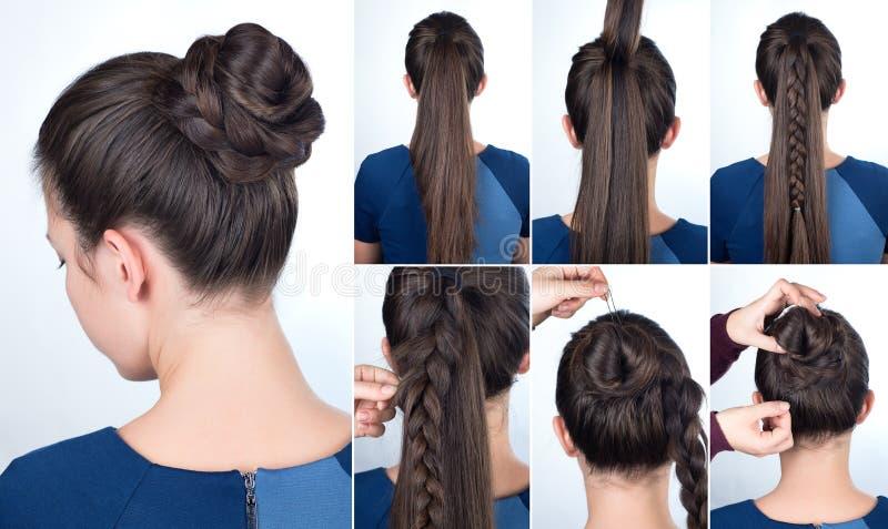 Petit pain d'instruction de coiffure avec la tresse photos libres de droits